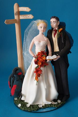 Backpacking bride and groom wedding cake topper Louisa Hill Artist & Model Maker Personalised Unique