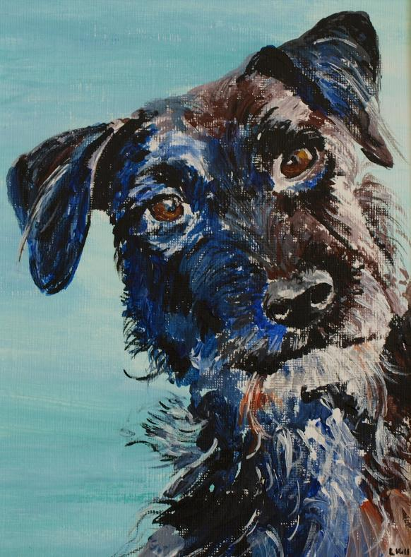 patterdale terrier acrylic painting