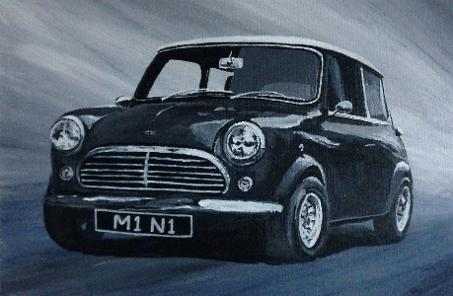 Mini acrylic painting Louisa Hill Artist, car portraits, animal portraits, landscape paintings