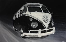 VW splitscreen campervan acrylic painting type 2 kombi
