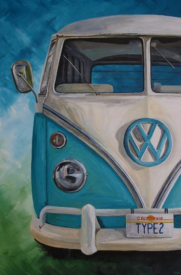 acrylic painting of a vw splitscreen campervan type 2