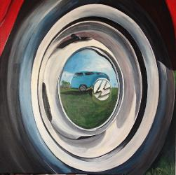 VW Campervan Wheel reflection acrylic painting
