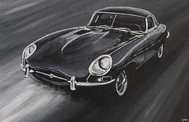 Jaguar e-type acrylic painting